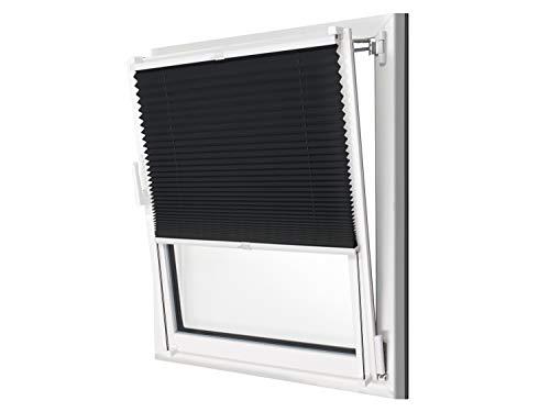 npluseins Plissee - vormontiert und mit Klemmfixierung am Fensterahmen - kinderleichte 3-Step Montage, ca. 50 x 130 cm, schwarz - Ca Montage