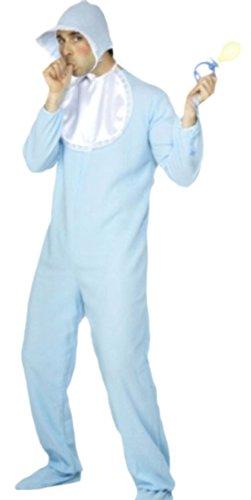 Halloweenia - Herren Karnevalskomplettkostüm Jumpsuit Baby Boy , L, Hell-Blau (Baby Gaga Kostüm)
