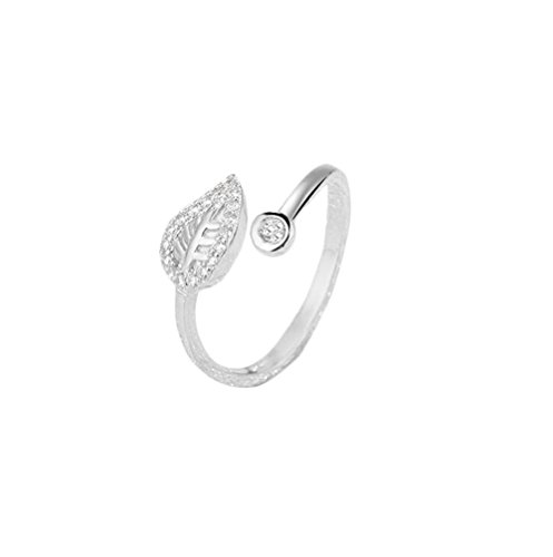 Gespout Anelli da Donna alla Moda Argento Foglia di Albero Diamante Strass Anello Regolabile Apribile Fit Ragazza Feinile