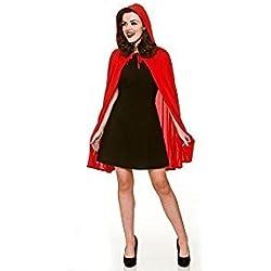 Capa con capucha roja femenina adulta (un tamaño)