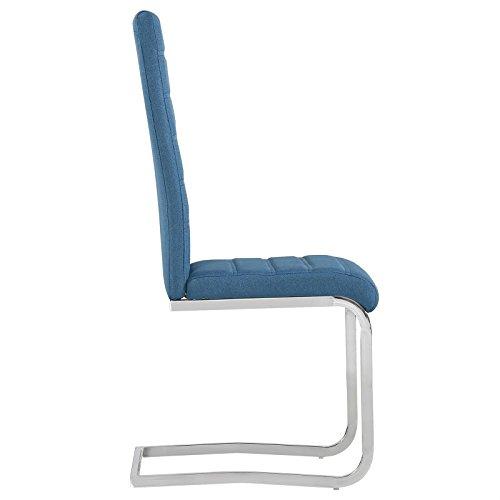 4er Set Esszimmerstuhl Küchenstuhl Schwingstuhl MODESTO, Gestell in chrom, Stoffbezug in blau - 2