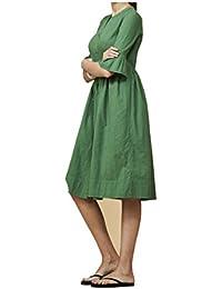 Aquajeans Abito a Camicia in Cotone Verde - con Fodera Made in Italy 00914404d8a