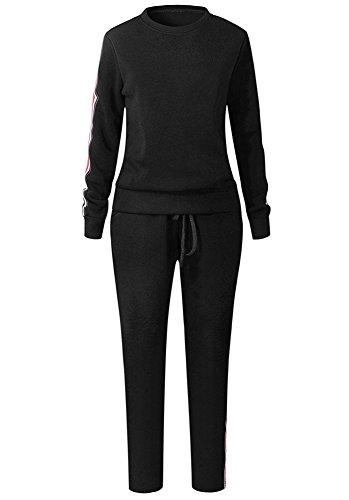 Donna Moda Casual Tuta Sport Manica Lunga Tops + Pantaloni 2 Pezzi Training Sportivi Vestiti Da Jogging Sportswear Nero