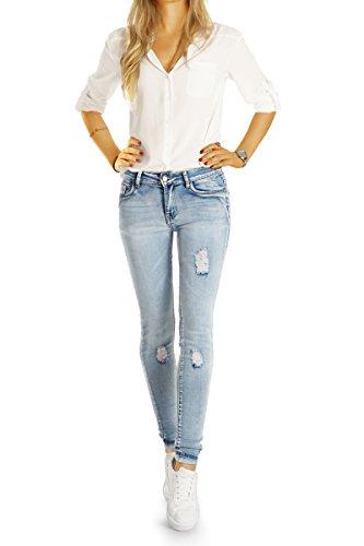 Bestyledberlin Damen Jeans Hosen aufgerissen, Basic Röhrenjeans ausgewaschen, Skinnyjeans Acid Wash j81e Acid Blue