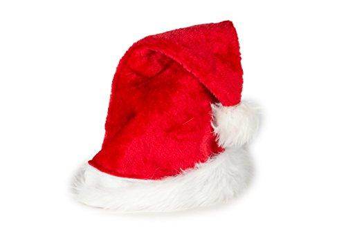 Ciffre Weihnachtsmütze Nikolausmütze Mütze Weihnachten Nikolausmütze Santa Christmas Nikolaus Rot Plüsch für Große ()