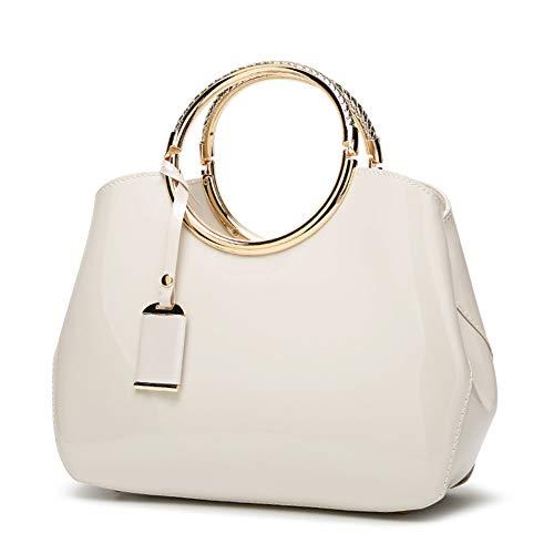Ohyoulive Simple Women Shoulder Bag PU Leather Metal Ring Handle Handbag Crossbody Messenger Bags (28cm*10.5cm*22cm)