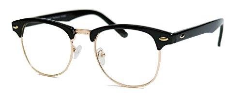 50er Jahre Retro Nerd Brille Halbrahmen Hornbrille Clubmaster Stil Rockabilly Streberbrille (Schwarz / Gold)