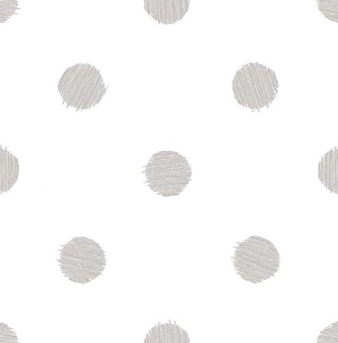 Papel pintado a lunares de color gris sobre fondo blanco Friends & Coffee 5679