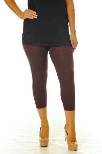 Neu Damen Übergröße Ebene Geerntet Gamaschen Frau Ladies Plus Size Cropped Leggings Nouvelle Collection Braun