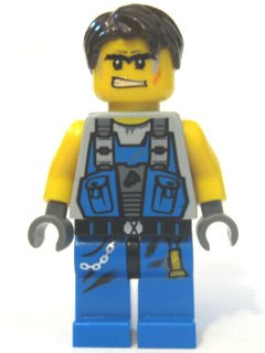 LEGO POWER MINERS - MINIFIGUR MIT BRAUNEN HAAREN Aus Set 8962 (Lego Power Miner Sets)