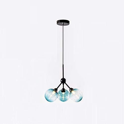 FDA3H / Moderne Einfache Pendelleuchte Blaue Runde Glaslampenschirme Eisen Pendelleuchte Schöne Kreative Design Pendelleuchte Ø34CM E27 × 3 Flamey Max