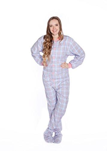 Big Feet Pyjama Pink/blau kariert, 100% Baumwolle, Flanell-Pyjama/Schlafanzug für Erwachsene mit Fuß bis (108) ausführlich behandelt (Pjs Herren Flanell)