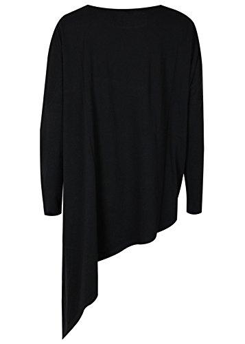 trueprodigy Casual Damen Marken Long Sleeve Einfarbig Basic, Oberteil Cool und Stylisch mit Rundhals (Langarm & Slim Fit), Top für Frauen in Farbe: Schwarz 1063173-2999-M
