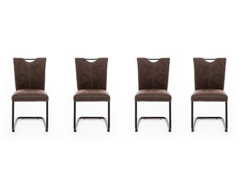 Woodkings 4 x Freischwinger Schwingstuhl Kenton, Stoff braun, Vintage Optik, Esszimmerstuhl modern, Stuhl mit Griff, Designstuhl, Metallstuhl, Küchenstuhl 4er Set