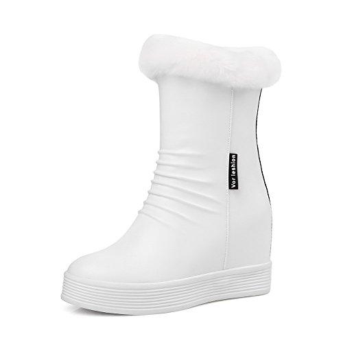 Senhoras Agoolar Alta Calcanhar Rodada Toe Baixo-top Botas Branco Puro
