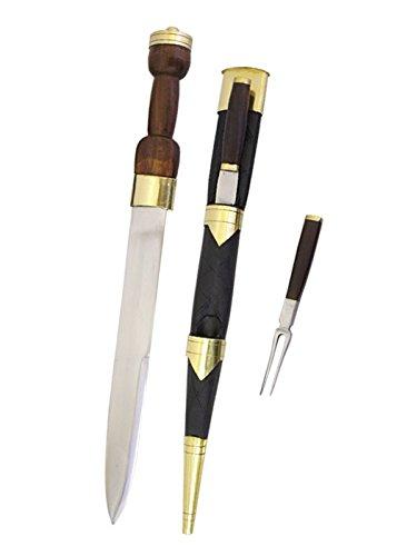 Schottischer Dirk mit Gabel und Messer Mittelalter Highlander Sgian Dubh Kilt William Wallace (Mittelalterliches Schwert Aus Kohlenstoffstahl)