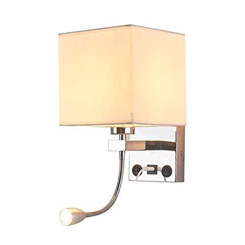Luz LED de dormitorio, lámpara de pared con carga USB, pantalla de...