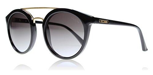 Guess Doppel-Brücke Runde Sonnenbrille in schwarz glänzend GU7387 01B 52