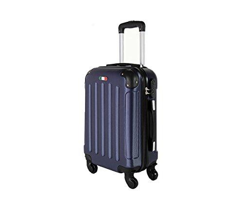 Trolley da cabina valigia rigida 4 ruote in abs policarbonato antigraffio e impermeabile compatibile voli lowcost come Easyjet Rayanair art 195