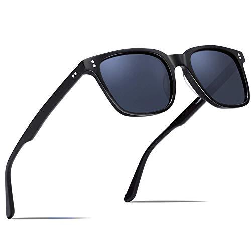 Carfia Vintage Polarisierte Damen Sonnenbrille, Rechteckig Rahmen aus Acetat (Rahmen: Schwarz; Linsen: Dunkelblau)