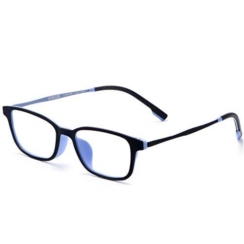 Reine Titanrahmen-super klare Lesebrille, asphärische Harzlinse Anti-blaues Licht Tr90 Glas-Bein-Mosaik-Scharnier-Anti-blaue Lesebrille,Blue,+2.5