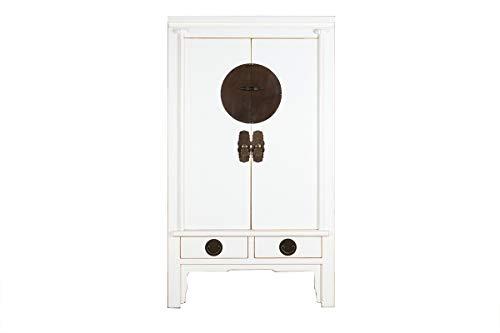 Yajutang Chinesischer Hochzeitsschrank 2 Türen 2 Schubladen weiß