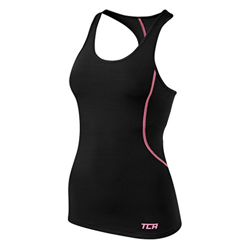 TCA Pro Performance - Damen Funktionstop/Laufunterhemd - Schwarz/Rosa - XS (Rosa Damen Radfahren T-shirt)