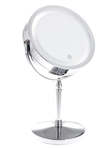 TUKA LED Espejos Maquillaje Pantalla Táctil, 7X aumentos, afeitarse Espejos para baño de Mesa, Conector...