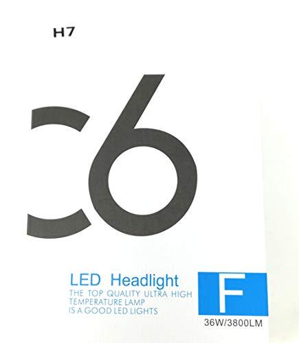 Coppia kit lampade luci LED auto moto fari COB H7 C6 7600LM 36W 6000K headlight luce bianca lampadine bulbi automob