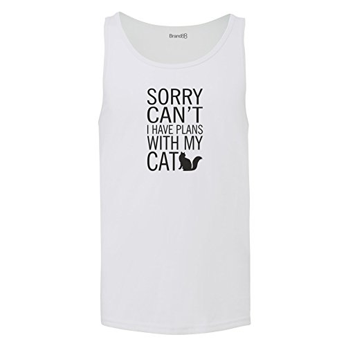 Brand88 - Sorry Can't I Have Plans With My Cat, Unisex Jersey Weste Weiß