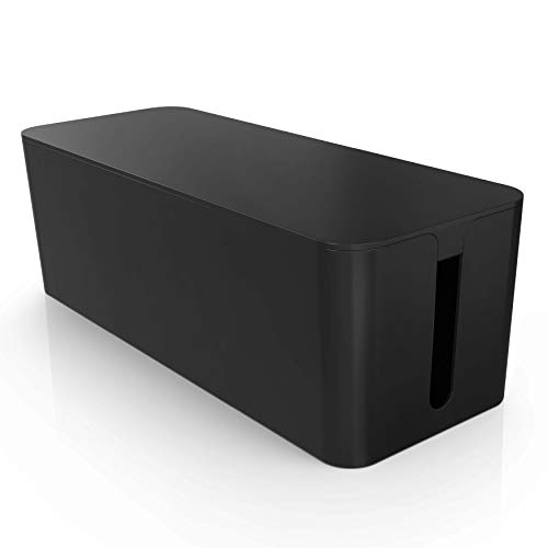 Kabelbox groß schwarz - Kabel verstecken zum Schutz von Kinder und Haustiere - Kabel Aufbewahrungsbox - Kabelmanagement zur Vermeidung von Kabelsalat (38,6 x 14,0 x 13,5 cm) -