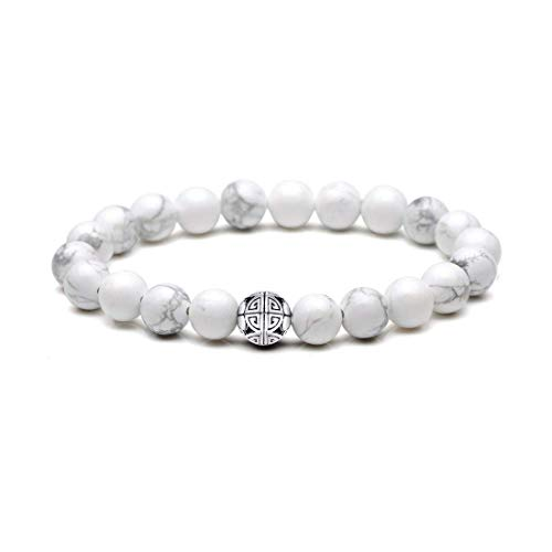 MetJakt 8 mm Naturstein Matt Achat Howlith Diffusor Armband elastisch Yoga Achat Perlen Armband Armreif 925 Sterling Silber Doppelte Glücksbringer (Howlite)