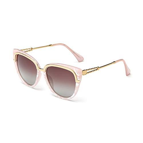 YYXXZZ Sonnenbrillen Marmorierende Farbe Cat Eye Polarized Sonnenbrillen Damen Sonnenbrillen Metallgläser, braun
