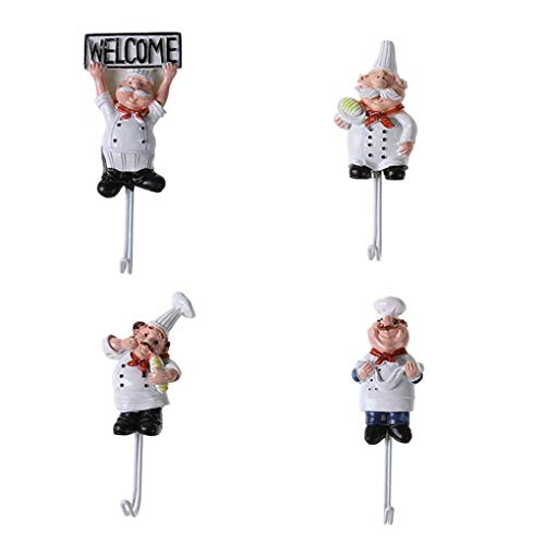 Morza 4pcs Cartoon Chef de Post-it en Acier Inoxydable Vêtements Crochet Manteau Hat Cintre Cuisine Salle de Bains en INOX Porte-Serviettes