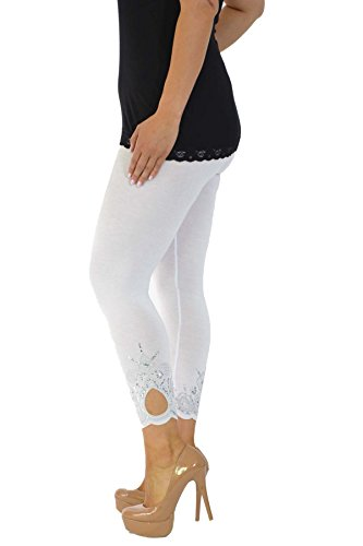 Neu Damen Übergröße Laser Schnitt Gamaschen Frau Ladies Plus Size Leggings mit Loch Laser Cut Nouvelle Collection Weiß