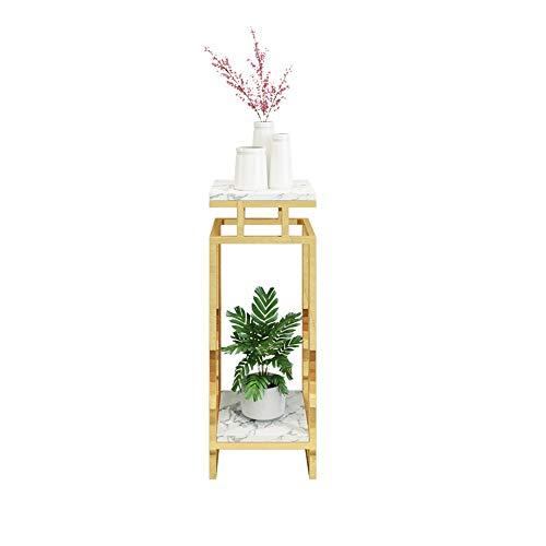 Khkfg Nordic Schmiedeeisen Blumenständer Indoor Mehrschicht Marmor Blumentopf Rack Wohnzimmer Rack Balkon Bodenstehend Gold (Color : White, Size : M) -