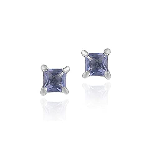 Sterling Silver Simulated Tanzanite CZ Square Stud Earrings