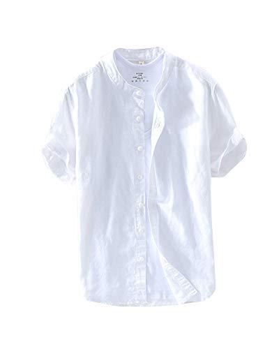 Leinenhemd Herren Freizeit Einfarbig Hemden Stehkragen Kurzarm Slim Fit Weiß M