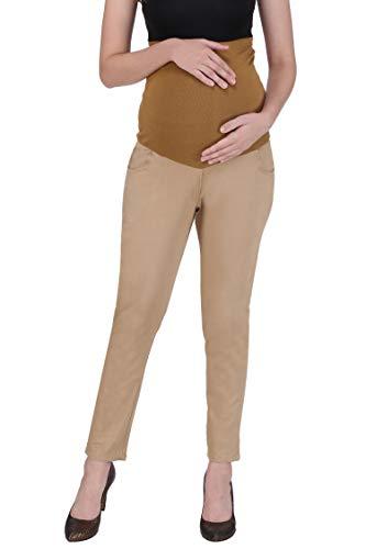 MomToBe Women's Cotton Lycra Beige Maternity Trouser