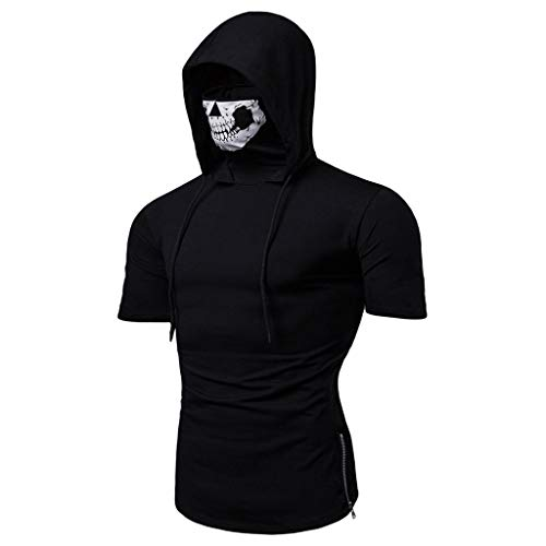 SANFASHION Herren Hooded Mens Mask Skull Druck Splice Tops,Pure Color Reißverschluss Mode Revers Kurzarm Hemd Kurzarm Shirt - Star Kostüm Wars Hoodie