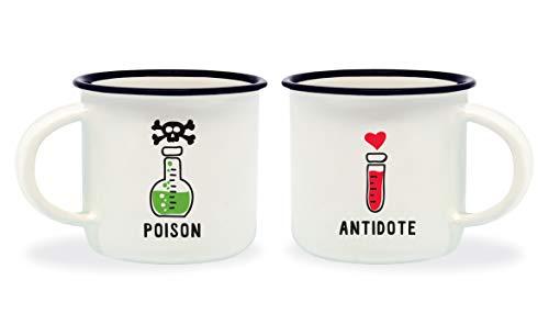 Legami Poison & Antidote Tazzine da caffè, Bone China, Multicolore, 5.5x5.5x5 cm, 2 unità