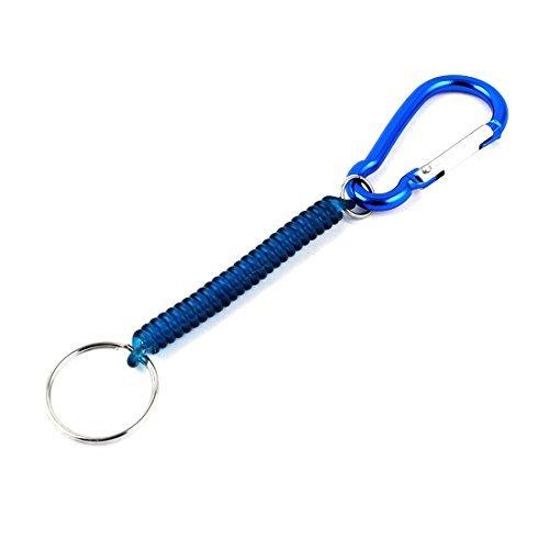 DealMux Keychain Federwindung Elastic Handy Karabinerhaken Cord einziehbare Seil-Blau