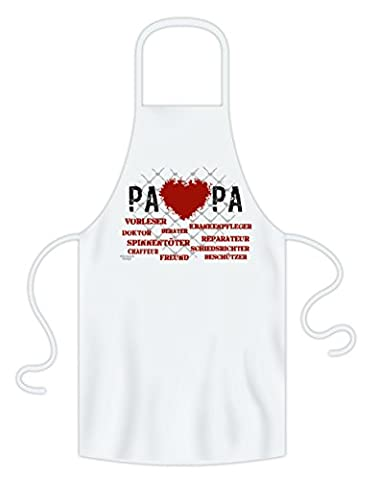 Geburtstagsgeschenk Vatertagsgeschenk :-: Herz Papa :-: Grill-Schürze Kochschürze Geschenkidee die von Herzen kommt :-: Geburtstag Weihnachten Geschenk :-: Vater Farbe: weiss
