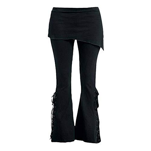 STRIR Pantalón Acampanados Jeans Gótico con Estampado de Flor...