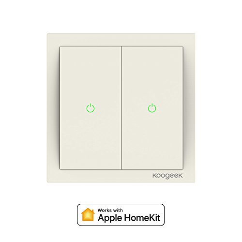 Koogeek Interruptor Wi-Fi de luz inteligente 220 ~ 240V Compatible Apple HomeKit Soporte Siri Control remoto Two-gang One-way Single Pole Interruptor de pared apoya 2.4GHz Consumo de energía