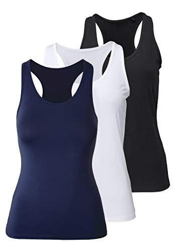 Damen Sporttop Yoga Tanktop Unterhemd Ringerrücken Workout Laufen Fitness Funktions Shirt aus Feinripp mit Rundhals 3er-Pack, M, schwarz + weiß + blau
