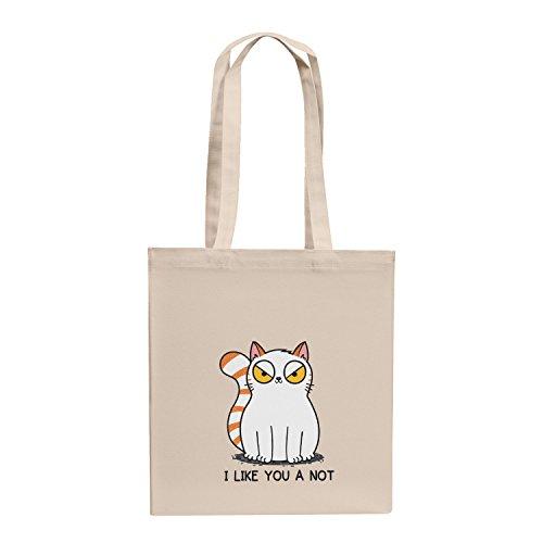 Katze Kostüm Internet - TEXLAB - I like you a not - Stoffbeutel, natur