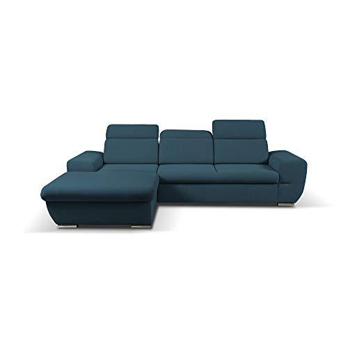 mb-moebel Ecksofa mit Schlaffunktion Eckcouch mit Bettkasten Sofa Couch Wohnlandschaft L-Form Polsterecke Fresno (Blau, Ecksofa Links)