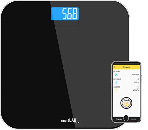 smartLAB scale W Bluetooth u. ANT+ Personenwaage aus Glas  Digitale Waage für iOS u. Android über fitmefit move App, SHealth App