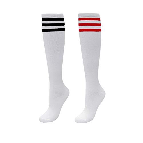 CHIC DIARY Kniestrümpfe Damen Mädchen Fußball Sport Socken College Cheerleader Kostüm Strümpfe Cosplay Streifen Strumpf (College-mädchen Für Kostüme)